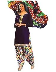 Namaskaar India Blue & Red Printed Salwar Suit Dupatta Material For Women