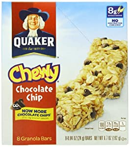 Quaker Chewy Granola Bar, Chocolate Chip, 0.84 Ounce 8-Count Bars (Pack of 6)