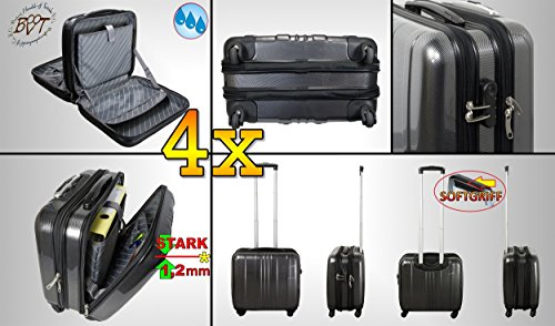 4x Business & Premium Weatherproof Pilot Steady Suitcase Large 4Wheel Suitcase Trolley Suitcase (Stainless Black Mitt Grip Handle and Wheels, Compact Design, Clear Dividers