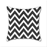 Cotton Linen Throw Pillow, Decorative Pillows.? Black Chevron Cotton Linen Square Decorative Throw Pillow Case Cushion Cover 18 x 18 Inch