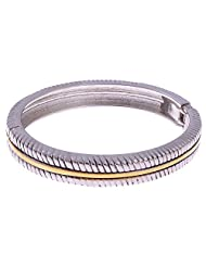 The Jewelbox Antique Finish With Gold Lining Openable Kada Bangle Bracelet For Men