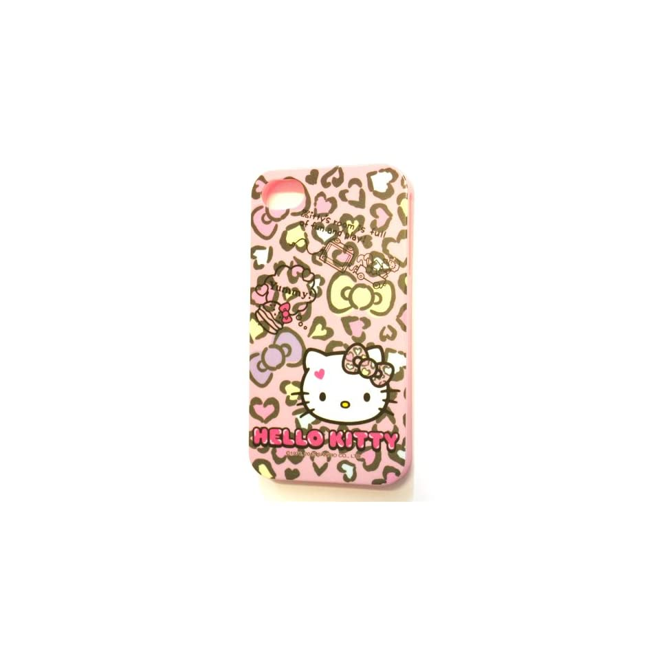 Sanrio Hello Kitty Flexible TPU Skin Protector Case Cover Cheetah Leopard Print for Apple iPhone 4S / 4G with Free WirelessGeeks247 Metallic Detachable Touch Screen Stylus pen and Anti Dust Plug