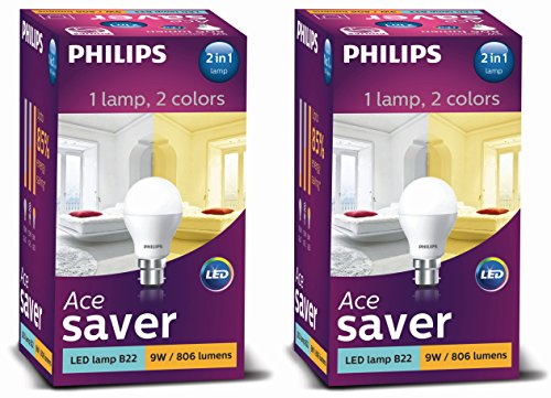 Philips 8.5W Light LED Bulb (White/Yellow, Pack of 2)