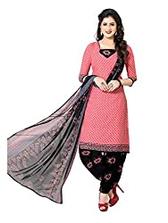 PShopee Pink & Black Synthetic Printed Unstitched Salwar Suit Dress Material