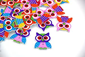 Pack of 20PCS Owl Buttons Colorful of Various Plain Round DIY 2 Holes Wooden Buttons for Sewing and Crafting from RayLinedo