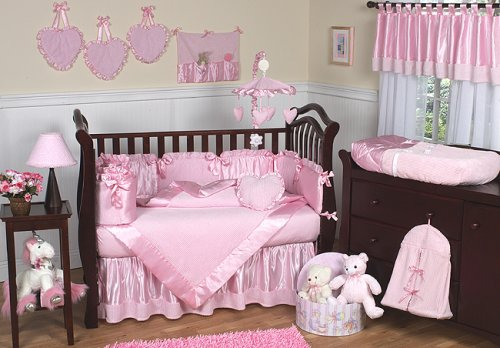 Pink Chenille and Satin Girls 9 piece Baby Bedding Crib Nursery Set by JoJo Designs