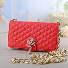 buy Iphone 4 4S Phone Case Borch Luxury Rhombus Handbag Metal Chain Style Design Camellia Pendant Fashion Soft Pu Leather Grid Wallet Folio Leather Case Cover For Iphone 4 4S Borch Screen Protector (Red)