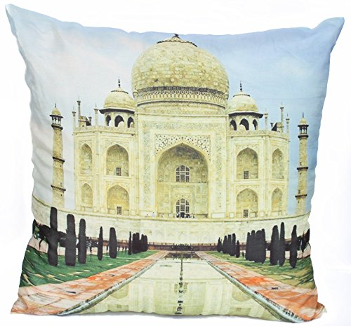 Souvnear Unique Pillowcases - Large 18 X 18 Inch Taj Mahal Print Throw Pillow Cover From India With Hidden Zippers For Your Couch, Sofa, Ottoman, Rocking Chairs And Beds - Decorative Cushion Covers And Pillow Cases For Your Living Room, Family Room, Patio front-565948