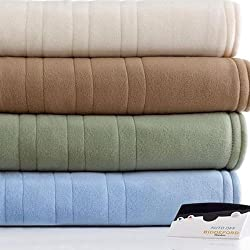 Biddeford Comfort Knit Fleece Natural (Ivory) Full Heated Blanket