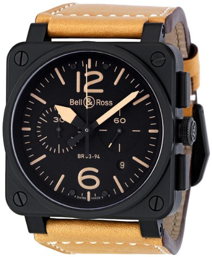 Bell & Ross Men's BR03-94HERITAGE Avation Beige Leather Strap Watch