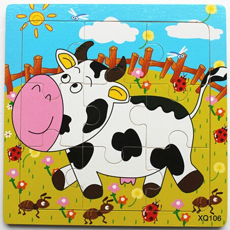 XQ106 9-piece Wooden Colorful Jigsaw Animal Puzzle, Cow