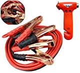 Jumper Cable & Emergency Escape Hammer Combo - 200 amp 10 Gauge No Tangle Battery Booster Cables 12 feet with FREE Travel Case WITH Emergency Multi-Use Hammer