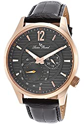 Lucien Piccard Men's 'Burano' Quartz Stainless Steel and Black Leather Casual Watch (Model: LP-40022-RG-014)