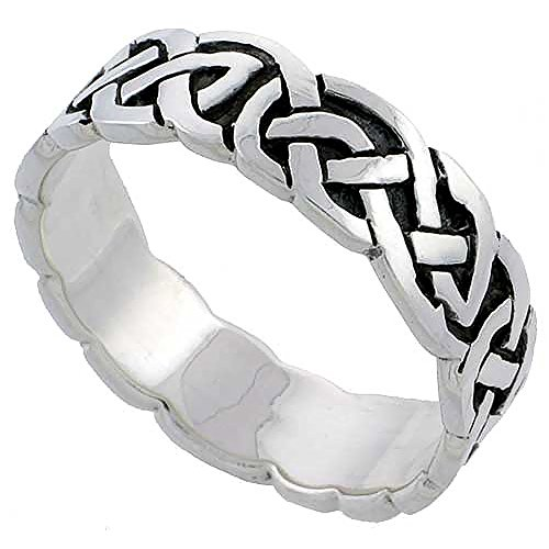 Sterling Silver Celtic Knot Wedding Band Thumb Ring 1/4 Inch Wide, Size 6