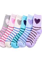 Naartjie Girls Cotton Short Crew Socks 6-Pack (Hearts & Stripes)