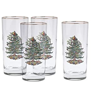 Spode Christmas Tree Hiball Glasses, Set of 4