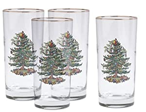 #!Cheap Spode Christmas Tree Hiball Glasses, Set of 4