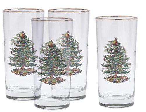 Spode Christmas Tree Hiball Glasses, Set of 4 4 Spode Christmas Tree