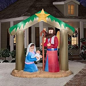 Christmas inflatable 9 1 2 39 t x 12 5 39 l plush for Baby jesus lawn decoration