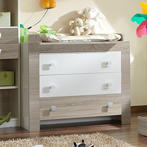 Babyzimmer Wickelkommode weiß – Eiche sägerau Wickeltisch Kommode Babytisch