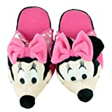 Disney Minnie Mouse Women Ladies Cartoon Face Plush Adult Slippers Small 5/6