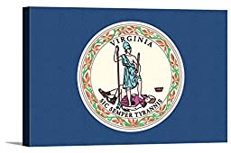 Virginia State Flag - Letterpress (36x24 Gallery Wrapped Stretched Canvas)