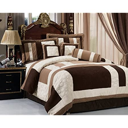 Green Brown Micro Suede Patchwork Comforter Set Bed In A