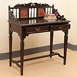 ExclusiveLane Teak Wood Maharaja Writing Desk With Dhokra & Warli Work In Walnut Brown-Writing Desk , Table , Console Table , Chair & Table set