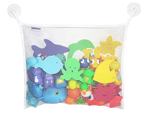 Toyganizer Bath Toy Organizer + 2 Bonus Strong Hooked Suction Cups, White Add Bath