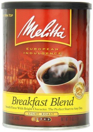 Melitta Coffee, Breakfast Blend Ground, Light Roast, 11-Ounce