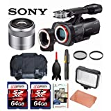 Sony NEX-VG900 Full-Frame Camcorder (Black) + Sony SEL30M35 30mm f/3.5 e-mount Macro Lens + Case + LED 160 + Two 64GB Memory Cards