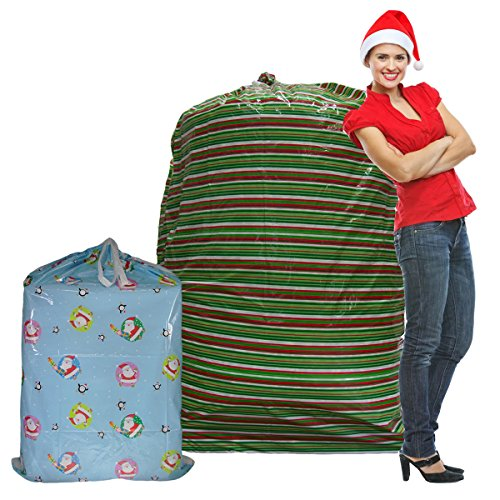 Set of 2 Giant Gift Bags Jumbo Christmas Sacks For Extra Large Presents Bikes Assorted Sizes