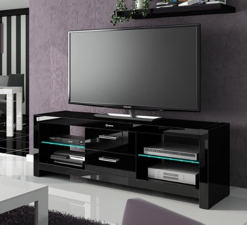 TV Lowboard Kommode Unterschrank schwarz hochglanz mit LED Beleuchtung