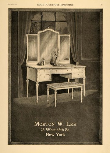 1918 Ad Morton W Lee Furniture Dressing Table Mirror - Original Print Ad