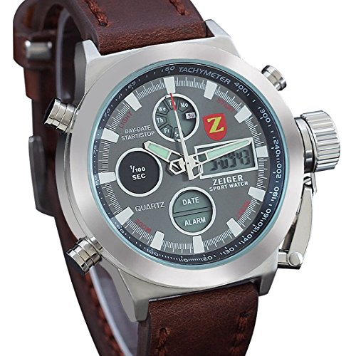 Zeiger-22mm-Brown-Leather-Band-Mens-Watch-Military-Digital-Sport-Watches-for-Boys-with-Date-Alarm-Chronograph-Function