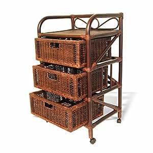 Natural Rattan Wicker Drawer Chest Laundry Basket Storage