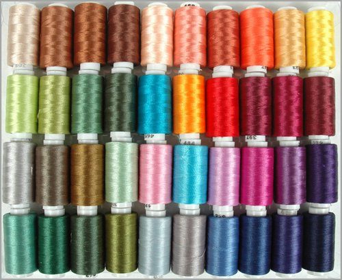Read About Polyester Embroidery Thread Set - 40 Spools (500 meter spools/40 wt.) - Set B Jewel Color...