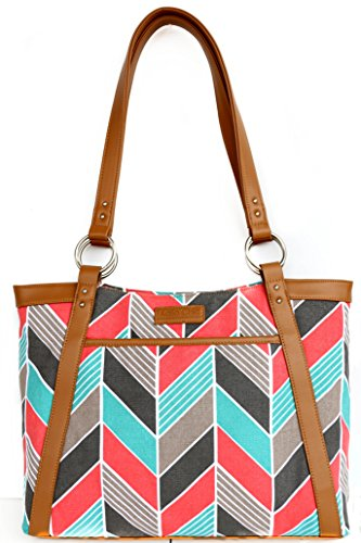kailo-chic-pleated-laptop-tote-coral-and-turquoise-chevron