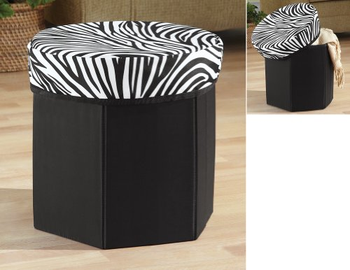 Zebra Storage Ottoman Foot Stool By Collections Etc