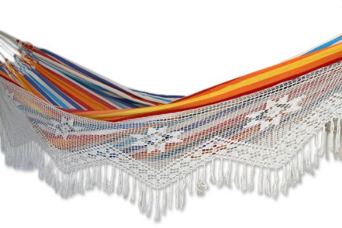 Cotton hammock, 'Festive Brazil' (double) – Artisan Crafted Cotton Striped Hammock (Double