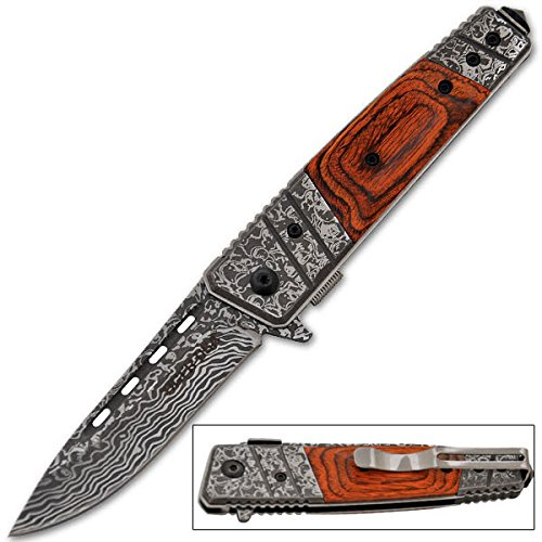 Etched Damascus Folding Knife (Wood)
