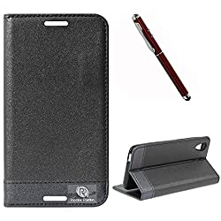 DMG HTC Desire 626 626G+ Flip Cover, DMG PRaiders Premium Magnetic Wallet Stand Cover Case for HTC Desire 626 626G+ (Black) + 4in1 Laser Torch Stylus Pen