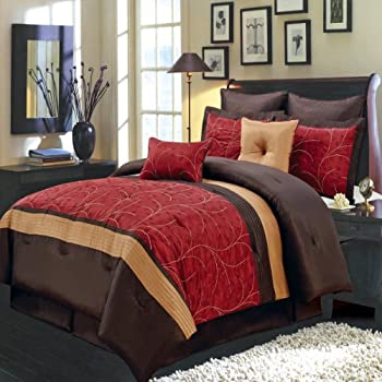 Amazing Bedding Set Atlantis Red Queen Size Pieces Polyester