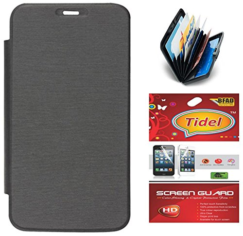 Tidel Black Flip Cover For Micromax Canvas Mad A94 With Tidel screen guard & Credit Card Holder  available at amazon for Rs.299