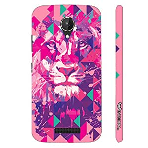 Micromax Canvas Spark Q380 Lion Art Light Pink designer mobile hard shell case by Enthopia