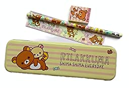 Rilakkuma Shima Shima Everyday Stationery Metal Pencil Box Set