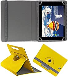 DressMyPhone Premium 360° Smart Leather Rotating Book Cover For Samsung Tab 3 T111 Neo (Stand Cover Holder) - Yellow