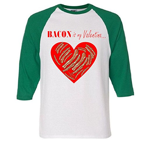 Bacon Is My Valentine Funny V-Day Raglan Baseball T-Shirt