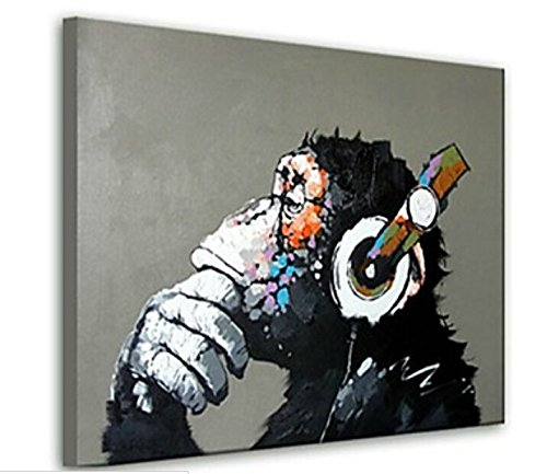 BPAGO Animal Chimp Oil Paintings Modern Completely Hand painted Abstract Wall Art on Canvas Framed Ready for Hanging