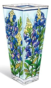 Amia 10-Inch Tall Hand-Painted Glass Vase Featuring Wild Bluebonnets